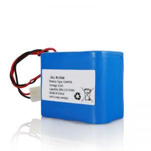 6,4 V 12 Ah LiFePO4 Lithium 26650 32650 Akku mit Anschluss für Solarlicht aufladen